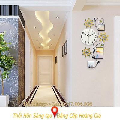 Đồng hồ trang trí họa tiết hoa lá làm nổi bật không gian sốngHàng Cao Cấp