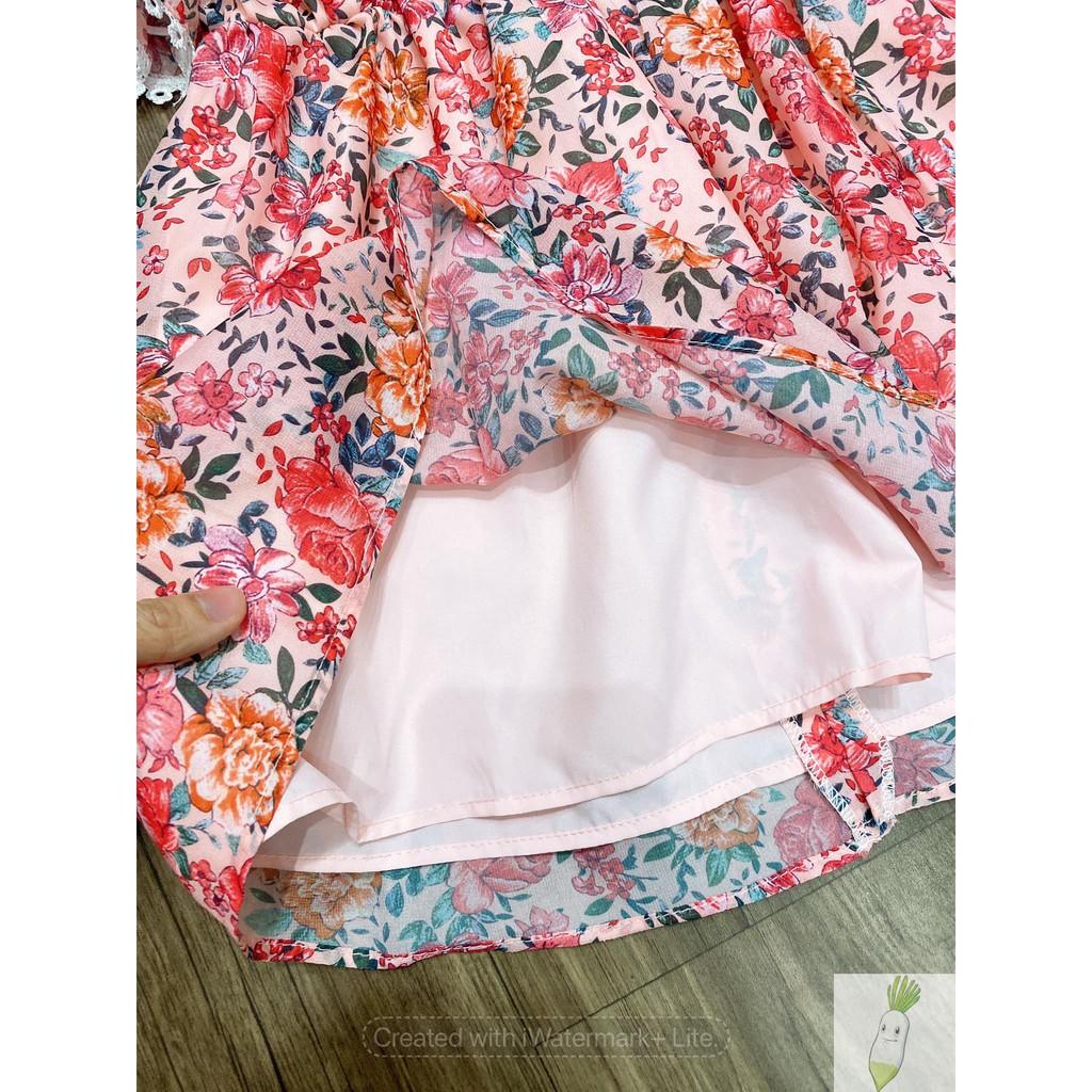 Váy cho bé gái, váy voan bé gái, váy cộc tay bé gái cổ sen hoa nhí VH04.
