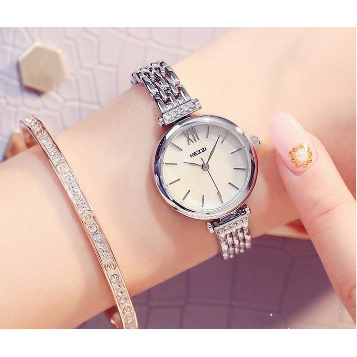 Đồng hồ nữ Kezzi 1551 hàng chính hãng dây kim loại size nhỏ