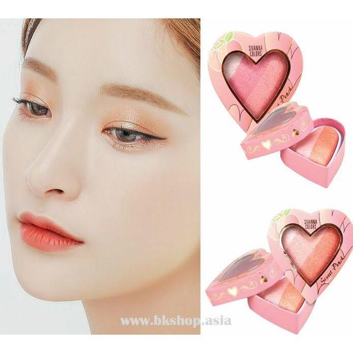 [3 trong 1] Phấn mắt, má hồng, bắt sáng - Sivanna Colors Sweet Peach