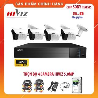 Trọn Bộ Camera giám sát HIVIZ 5.0MP chính hãng ,Đủ bộ 4 mắt 5.0MP, Kèm HDD 500GB và đầy đủ phụ kiện lắp đặt thumbnail