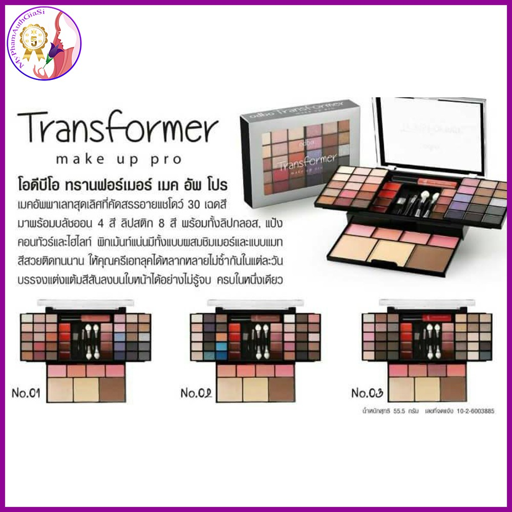 Set Trang Điểm ODBO Transformer Make Up Pro THÁI LAN