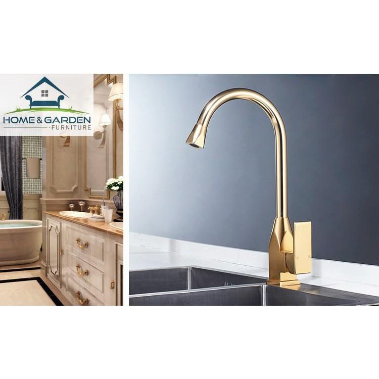 Vòi nước nóng lạnh bồn rửa chén mạ vàng tĩnh điện 7 lớp cao cấp Home&Garden - Kitchen Faucet Golden