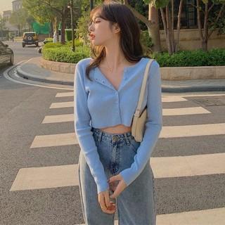Áo cardigan tay dài phối nút thiết kế thời trang
