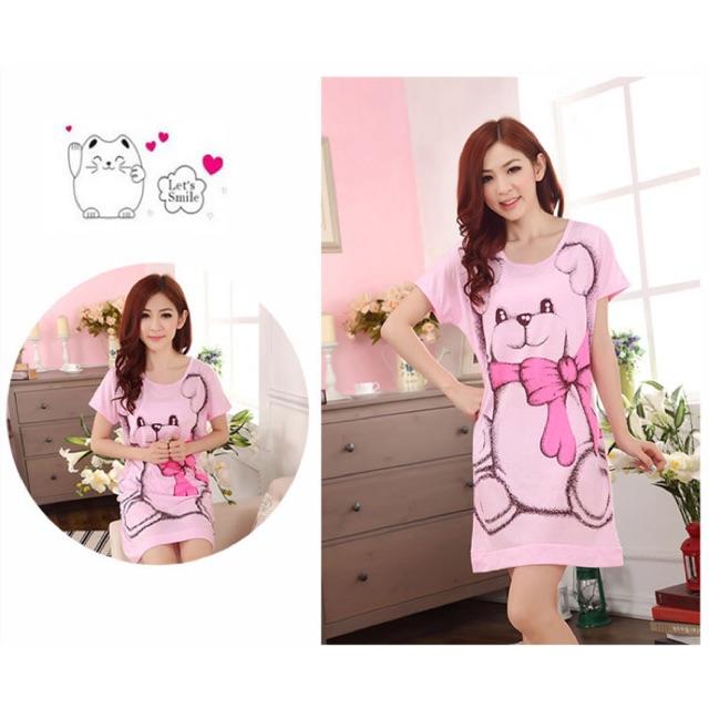 Đầm thun mặc nhà big size hình gấu size 70-80kg