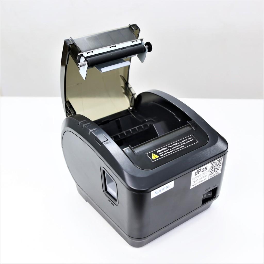 Máy in hoá đơn K80 dPos K200L USB in bill hóa đơn tính tiền POS sử dụng giấy in nhiệt 80mm cắt giấy tự động