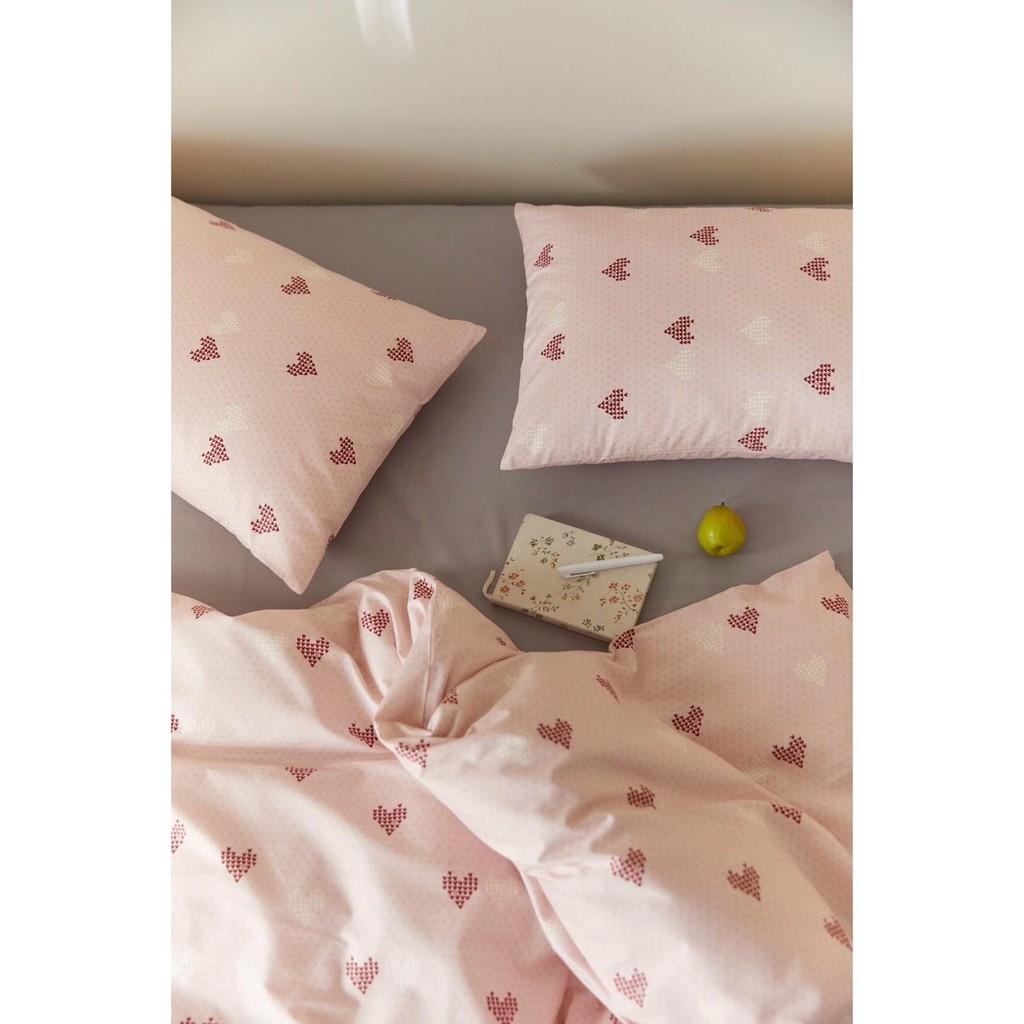 Bộ chăn ga gối cotton organic tim nhí hồng