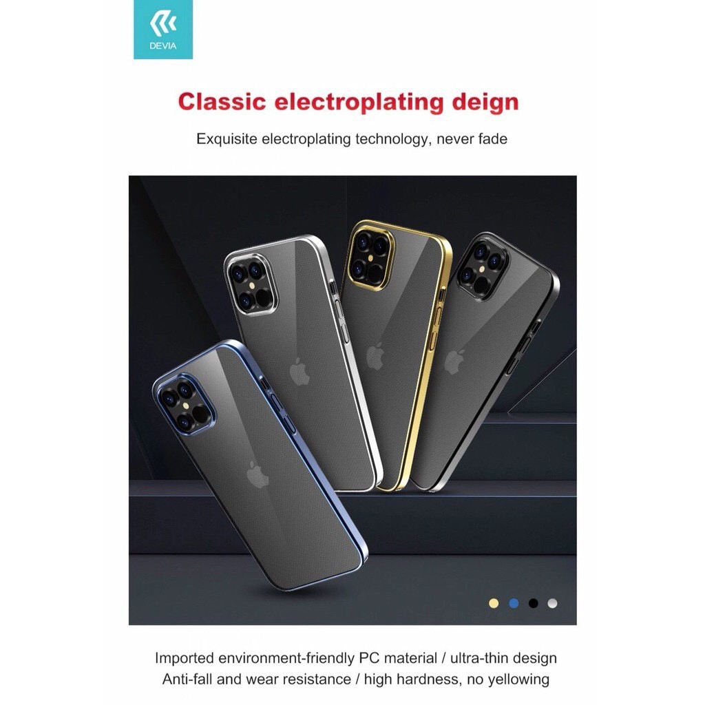 2. Ốp lưng iPhone 12 cao cấp Devia Cực Đẹp lưng trong viền màu