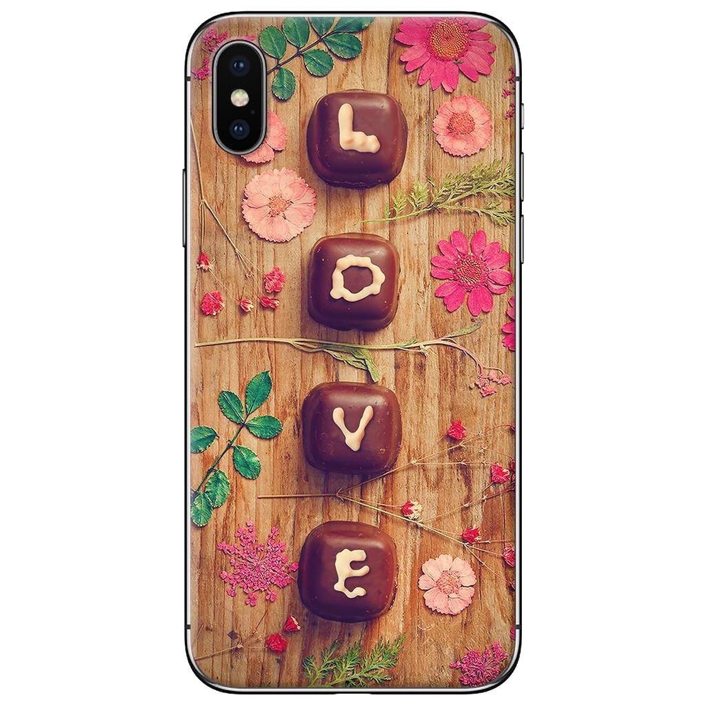 Ốp lưng iPhone X - nhựa dẻo Chữ love socola