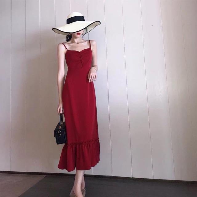Váy hai dây đỏ đuôi cá