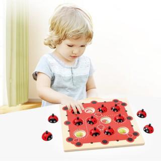 Kids Wooden Ladybug Design Kids Memory Training Game Chess Montessori