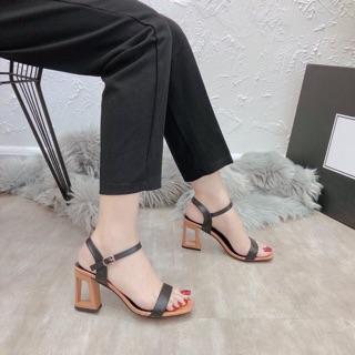sandal cao gót nữ quai da phối màu dễ thương gót lỗ cá tính cực êm mềm mịn