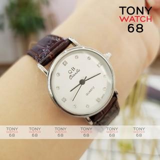 Đồng hồ nữ QB dây da viền bạc số ngọc szie 26mm sang chảnh chính hãng Tony Watch 68 thumbnail