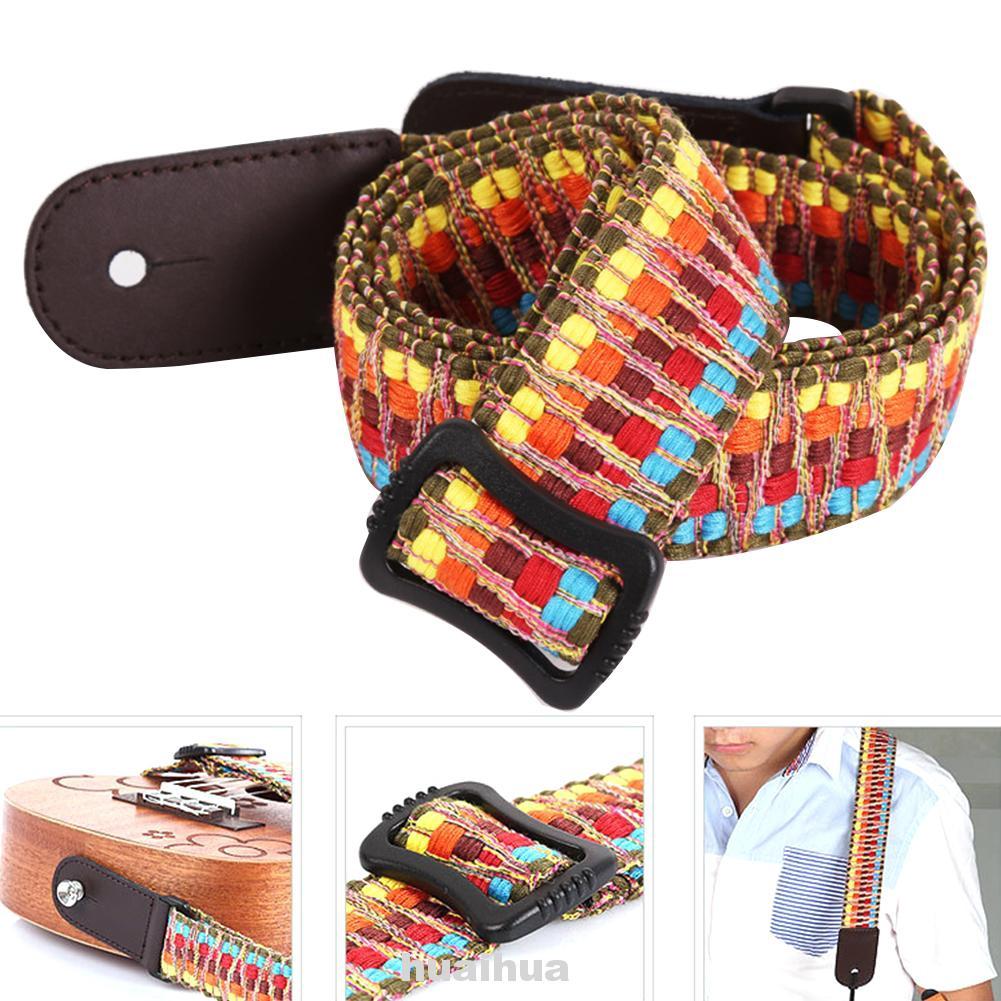 Accessories Adjustable Durable Ethnic Style Hanging Portable Rainbow Shoulder Ukulele Strap