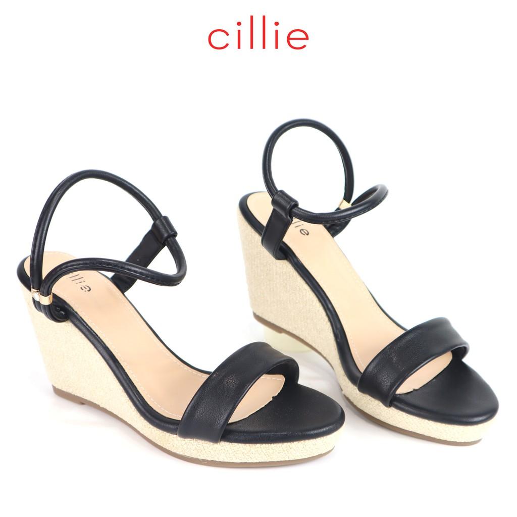 Giày sandal quai ngang cao 9cm đế xuồng Cillie 1180 [FORM NHỎ - CHỌN LÊN 1 SIZE]
