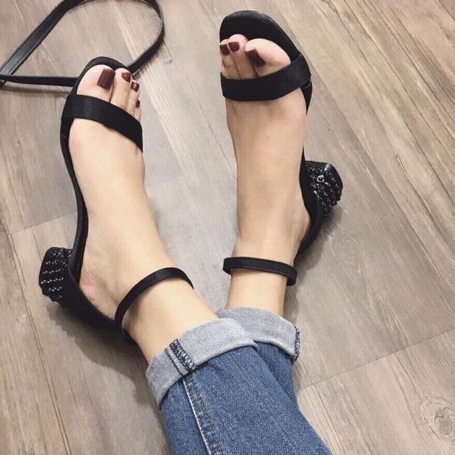Sandal quai mảnh gót hoa 5p