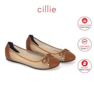 Giày búp bê nữ thời trang đế bằng da thật phối lưới Cillie 1135 - Mang đi chơi đi chơi đi
