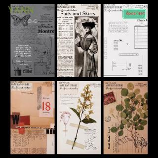 Set 6 Tờ giấy sticker dán trang trí phong cách retro