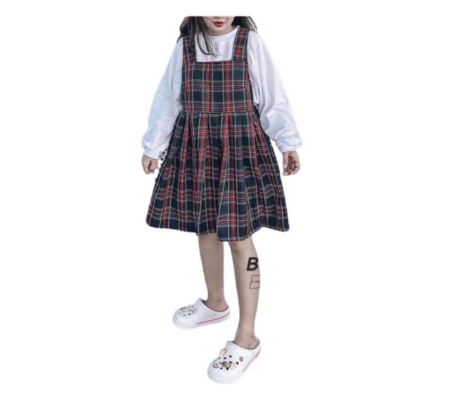 [Mã WASEPRN hoàn 20% xu đơn 99k] Set Váy Yếm BaByDoll Kẻ 🦋 Bộ Váy Yếm Kèm Áo Thun Tay Bồng Dài Tay 2 Màu 🦋