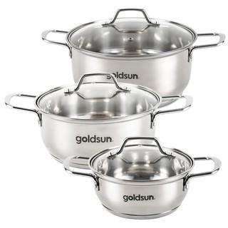 Bộ nồi inox 3 đáy Goldsun GE38-3306SG – Dùng được trên mọi loại bếp