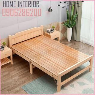 Giường ngủ [ ảnh thật ] , giường xếp gỗ thông gấp gọn 60cm,80cm,100cm,120cm,150cm