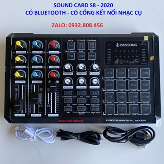 Sound card S8 2020 Có 2 Cổng Mic Và Tích Hợp Cổng Nhạc Cụ