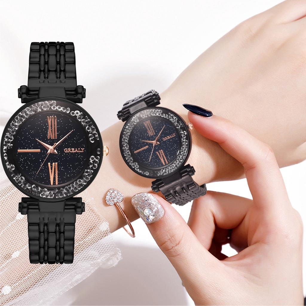 นาฬิกาควอทซ์สตั๊ดประดับเพชรหรูหราและหรูหราสำหรับสุภาพสตรี