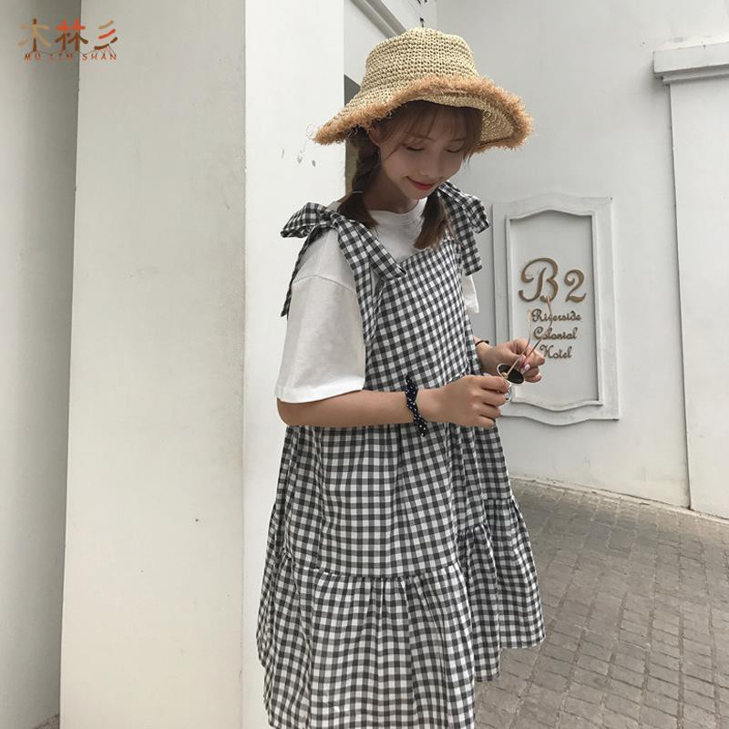▧☇Summer big yards new braces skirt small pure and fresh two-piece grid condole belt dress black white students cake