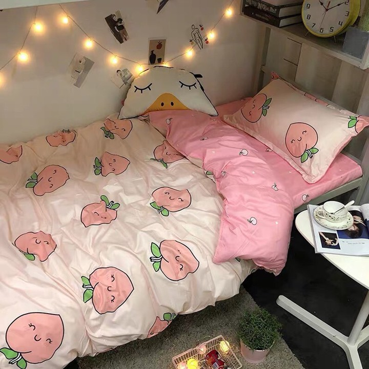 Bộ chăn ga gối drap giường chất cotton poly họa tiết đào hồng