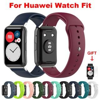 Dây Đeo Thay Thế Chất Liệu Silicon Màu Trơn Cho Huawei Watch Fit