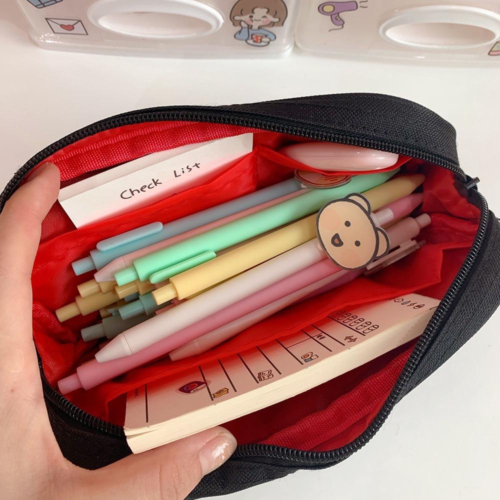 Túi đựng bút thêu hình gấu sức chứa lớn tiện lợi