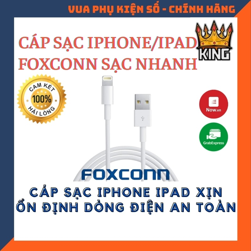 Cáp sạc Lightning FOXCONN 5V-1A ✓ Sạc nhanh ✓ Cáp sạc nhanh cho 6 6S 7 8 Plus X XS XS MAX 11 PRO MAX 12