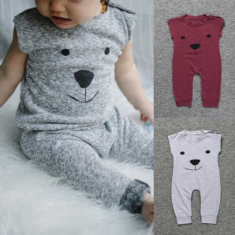 ❤❤❤Baby Kids Boys Sleeveless Cartoon Bear Printed Cotton Romper Jumpsuit❤❤❤