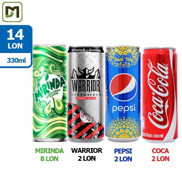 Freeship từ 99k - Combo 14 lon x 330ml 4in1 Nước ngọt Mix các loại Mirinda Thái / Warrior Thái / Pep