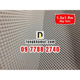 [VC thấp] - Mút trứng XÁM kt 150x190cm dày 3cm - LOẠI thông thường (tỉ trọng nhẹ hơn) - tiêu âm, cách âm dùng cho phòng