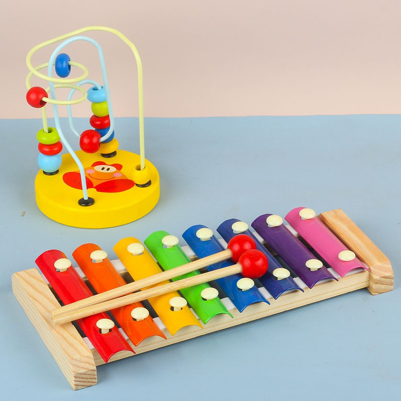 Combo 4 món đồ chơi gỗ Đàn gõ 8 thanh, Sâu gỗ, tháp xếp chồng gỗ cầu vồng, luồn hạt...
