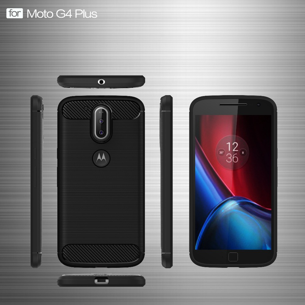 Ốp điện thoại mềm sợi các bon chống sốc kiểu dáng đơn giản hiện đại cho Motorola Moto G4/G4 Plus