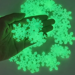 [ Ready Stock ] 50pcs Glow In The Dark Snowflake Wall Stickers/ 3D Luminous Snowflake Wall Decals/ Kids Room Fluorescent Window Clings Home Party Christmas Decoration