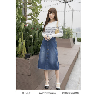 Áo len trắng phối chữ đen Elise FW2010130TLKFWH thumbnail