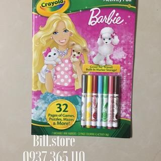 (SALE ĐỒNG GIÁ 99K)Tập tô màu kèm bút lông chủ đề Barbie Crayola Coloring Activity Pad