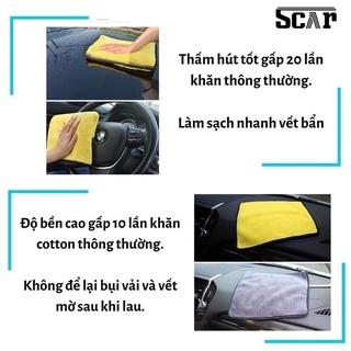 Khăn lau xe hơi, ô tô 2 lớp màu vàng cao cấp siêu sạch siêu thấm hút -Qcar Store 3