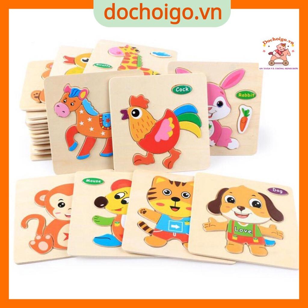Đồ chơi tranh ghép gỗ 3d nhiều hình ngộ nghĩnh phát triển trí tuệ cho bé 1 2 3 4 tuổi, đồ chơi thông minh dochoigo.vn