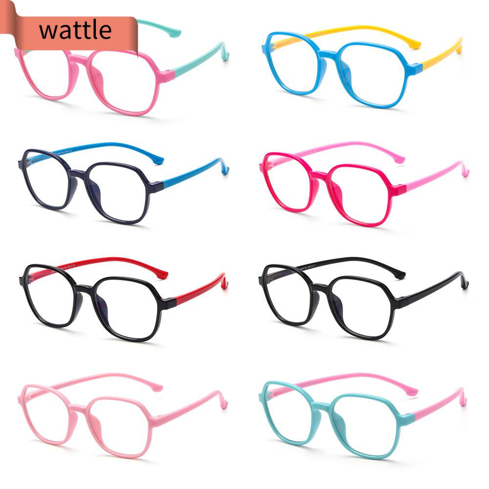 WATTLE Age 3-10 Blue Light Glasses for Kids Silicone Frame Computer Gaming Glasses Blue Light Blocking Glasses Anti-eyestrain UV400 Protection Soft for Boys Girls TV Phone Glasses