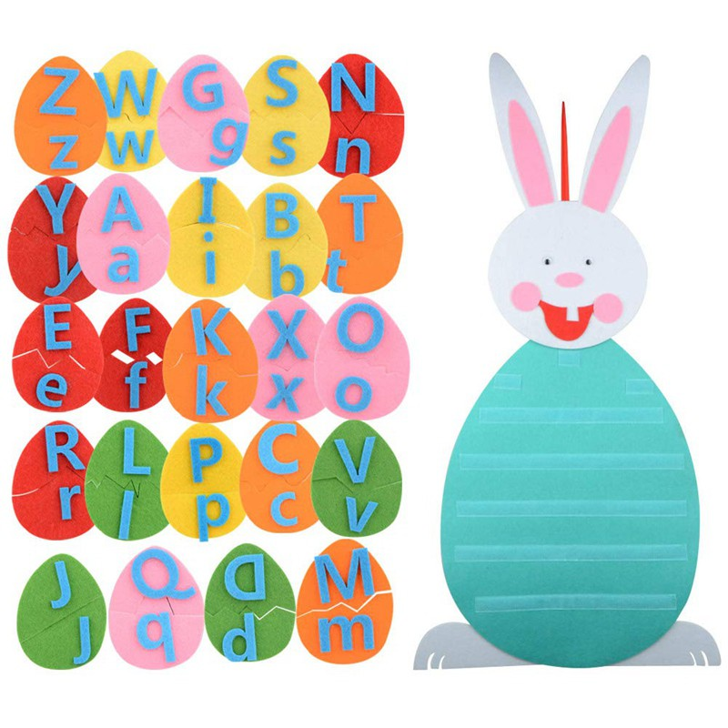 Easter Bunny Decoration DIY Felt Rabbit Set with Detachable Alphabet Easter Eggs Ornaments for Kids Gifts Home Door Wall