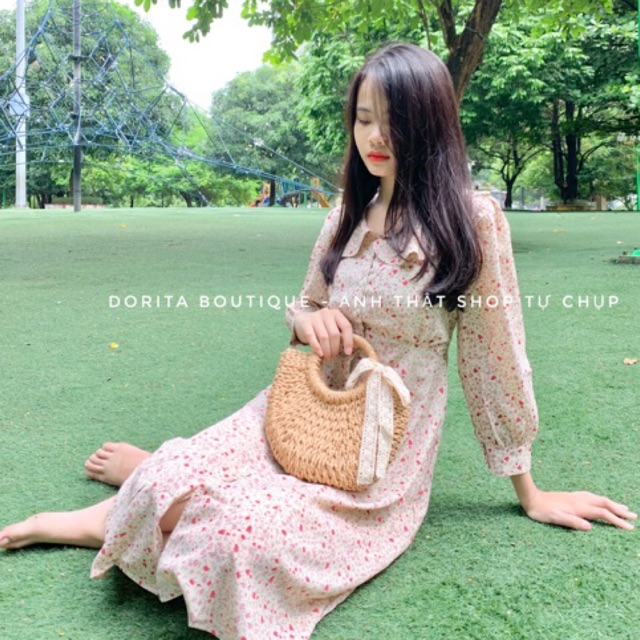 Váy hoa nhí mùa thu nhẹ nhàng. Đầm hoa vintage thanh lịch - Váy dáng dài - Dorita Boutique