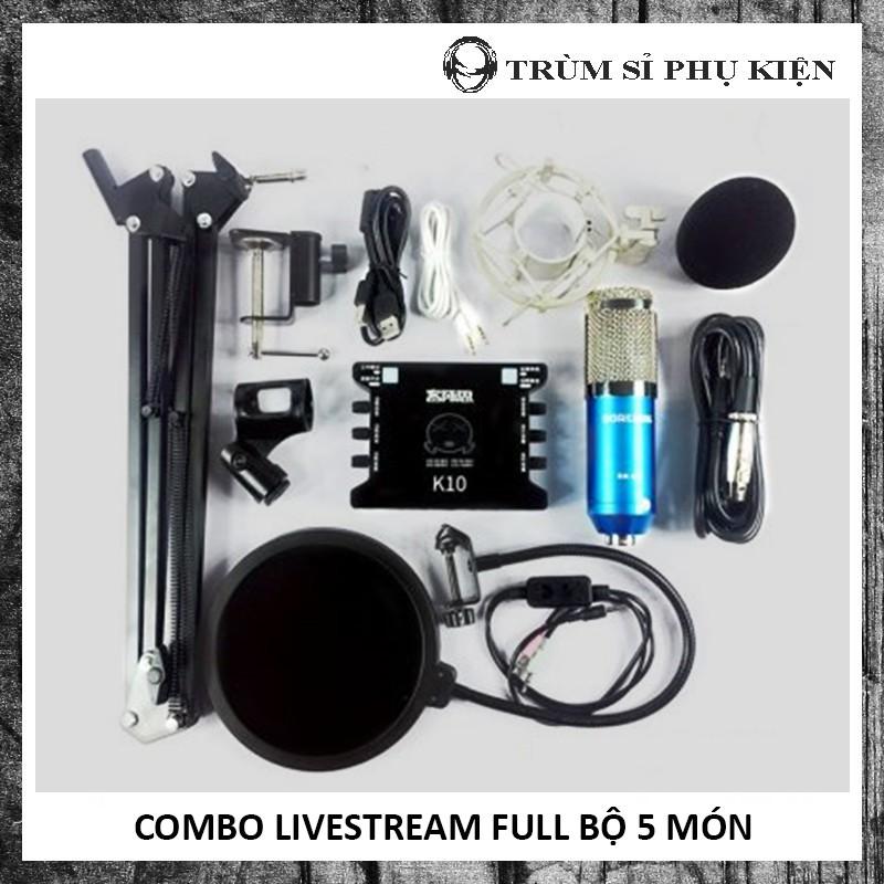 COMBO LIVESTREAM FULL BỘ 5 MÓN - KẾT HỢP MIC BM900 VÀ SC K10