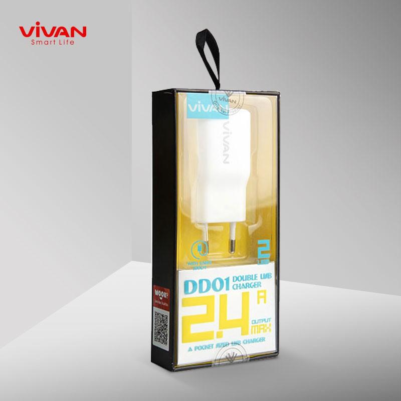 Cốc Sạc VIVAN 2 cổng kết nối USB 2.4A kèm dây cáp Micro 1m - DD01