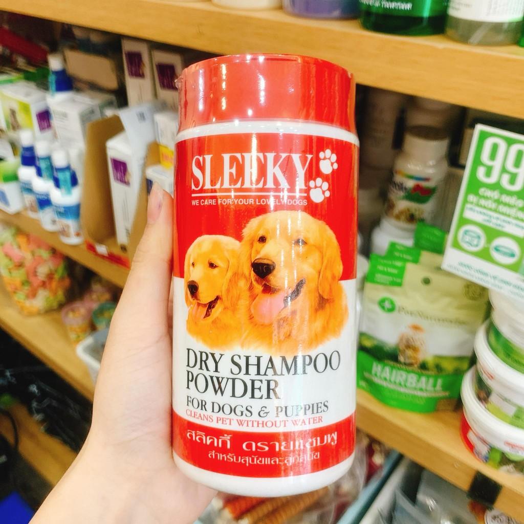 [HCM]Phấn tắm khô cho chó mèo Sleeky 250g - Made in Thailand