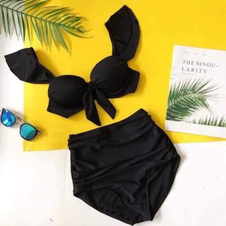 Bikini hai mảnh đẹp nơ ngực đen quần cạp cao mặc đi biển đi bơi- Hàng loại 1