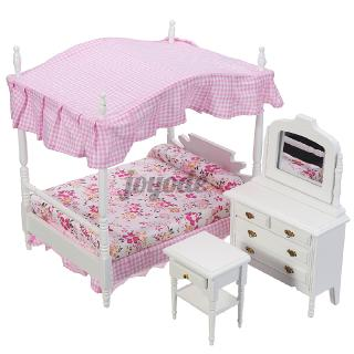 3Pcs 1:12 Dollhouse Miniature Furniture Pink Princess Bedroom Set Dressing Table